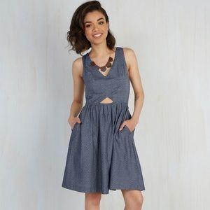 ModCloth Chambray Dotted Sleeveless Dress